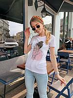 Белая женская футболка из хлопка с рисунком tez2217200, фото 1