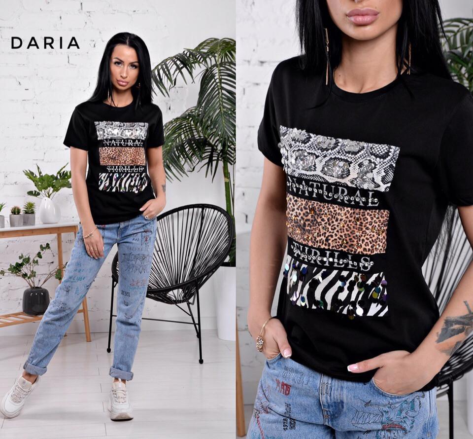 Летняя женская футболка прямого покроя с рисунком tez5517201, фото 1