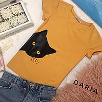 Женская футболка с котом на лето tez5517203, фото 1
