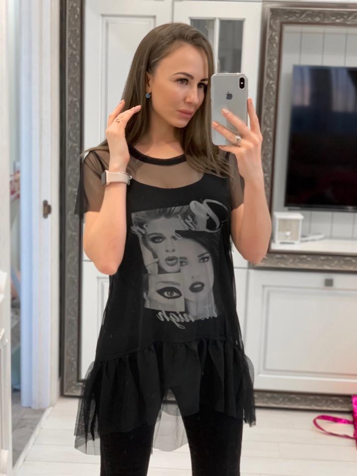 Легкая футболка-туника с сеткой tez3317206