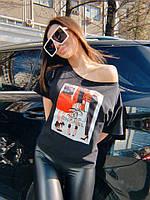 Легкая футболка со спущенным плечом с рисунком tez7117210, фото 1