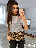 Женская футболка с пайеткой и леопардовым принтом tez6617215