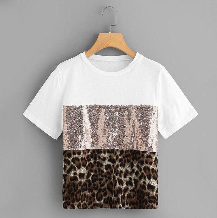 Женская футболка с пайеткой и леопардовым принтом tez6817219