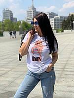 Белая женская футболка прямая с рисунком tez5817224, фото 1