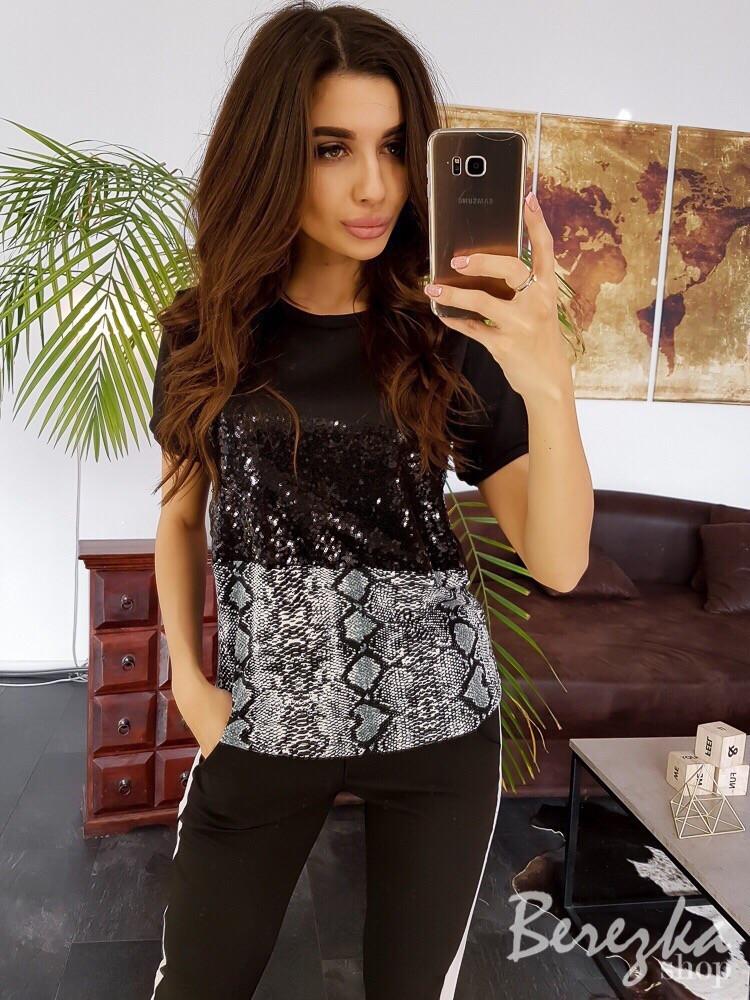 Женская футболка с пайеткой и принтом tez6617226