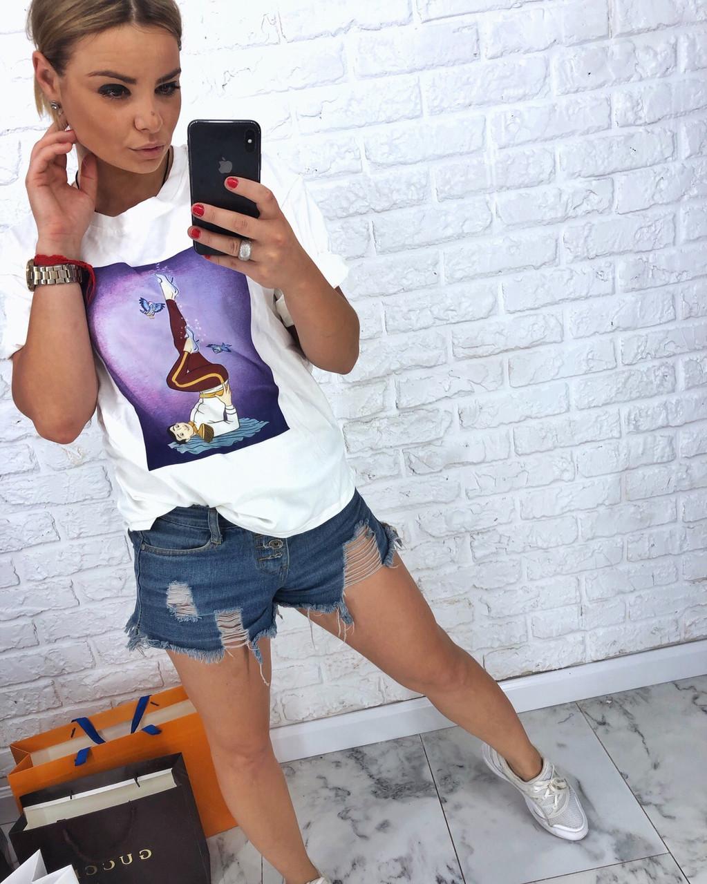 Женская прямая летняя футболка белая с рисунком tez317239