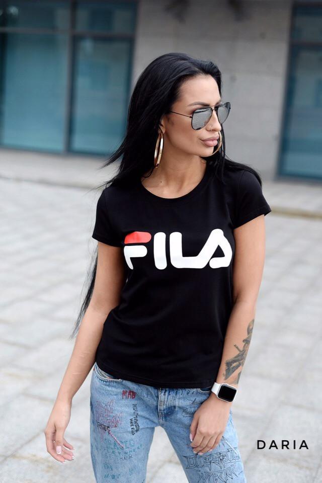 Легкая футболка прямая с надписью и эластаном в составе tez5517244