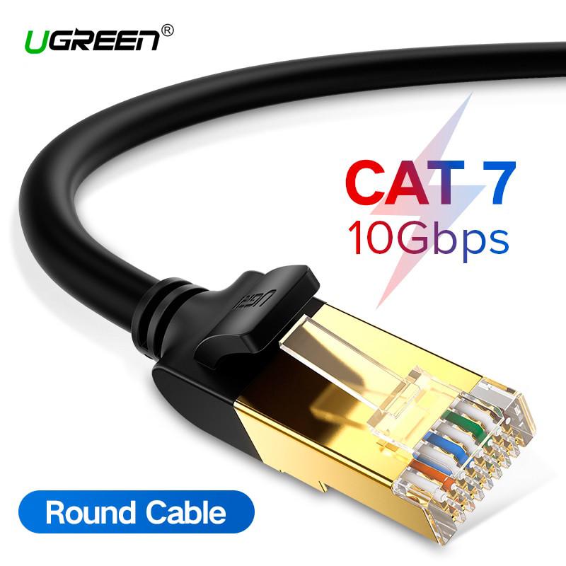 Патч-корд Ugreen NW107 прямой UTP сетевой кабель Ethernet Cat7 с RJ 45 (Черный)