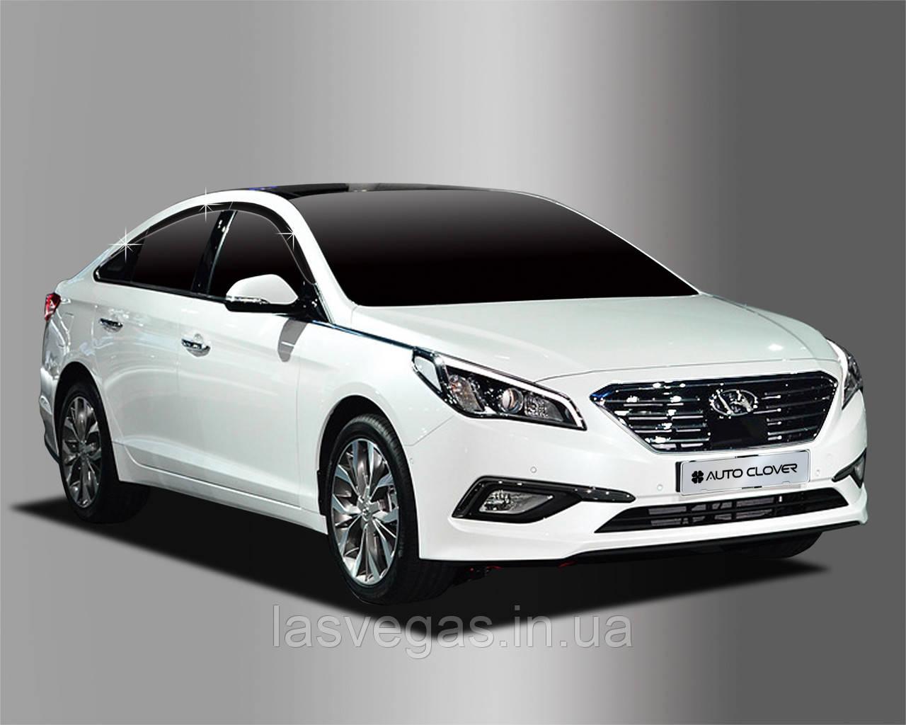 Ветровики , дефлекторы окон Hyundai Sonata LF 2014-2018- (Autoclover) A196