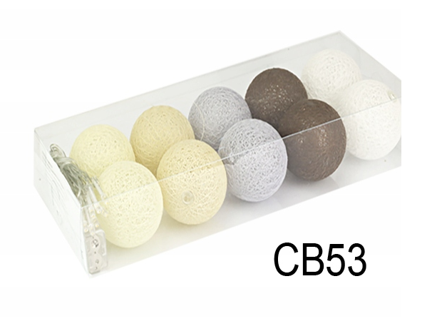 Гирлянда тайская декоративная LTL BRAIN Cotton Balls 10led, диам 6см, длина 180см на батарейках АА