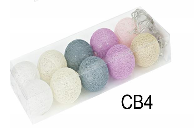 Гирлянда тайская декоративная LTL Cosiness Cotton Balls 10led, диам 6см, длина 180см на батарейках АА