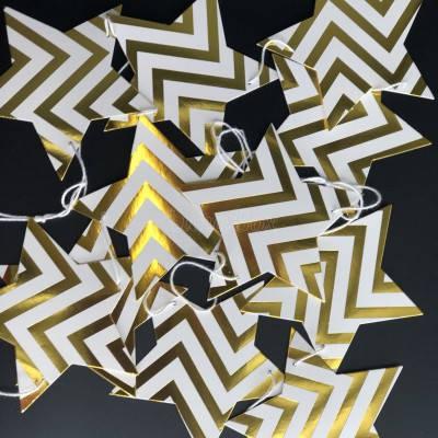 Гирлянда звездочки бумажные золото зигзаг