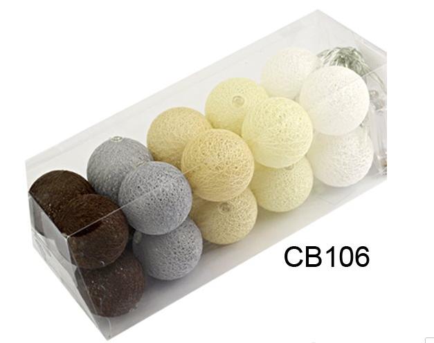 Гирлянда Тайские Шарики LTL BRAIN Cotton Balls 20led, диам 6см, длина 330см на батарейках АА