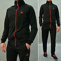 Мужской спортивный костюм Adidas (Адидас) / Трикотаж-дайвинг на флисе / Размеры: 46/48/50/52/54 - черный