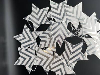 Гирлянда звездочки бумажные серебро  зигзаг