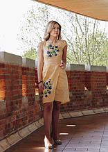 """Льняное платье с вышивкой вышиванка """"Колокольчики"""" для женщин и девочек-подростков"""