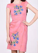"""Льняное платье с вышивкой вышиванка """"Колокольчики"""" для женщин 50-52 размер"""