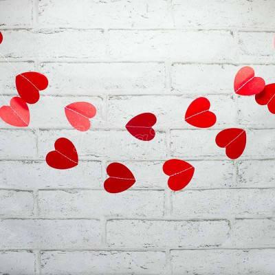 Гирлянда сердечки бумажные красные