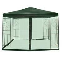Павильон-тент для дачного отдыха, 3*3 метра, москитная сетка вместо стенок, металлическая конструкция