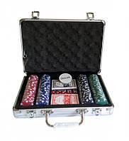 Набор для покера (200 фишек, 2 колоды карт, 5 кубиков), в аллюминиевом чемодане. 31-21-7,5 см
