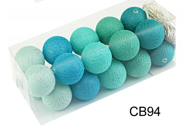 Гирлянда тайская декоративная LTL MINT Cotton Balls 20led, диам 6см, длина 330см на батарейках АА