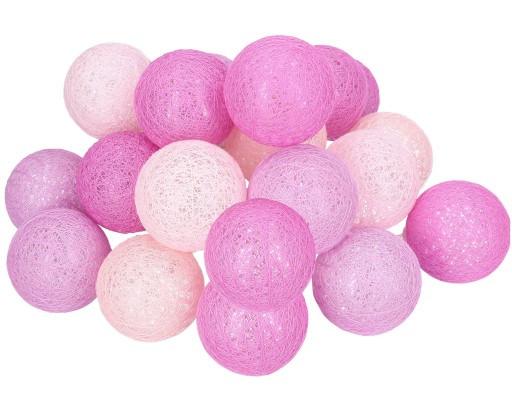 Гирлянда тайская декоративная LTL VIOLET Cotton Balls 20led, диам 6см, длина 330см на батарейках АА