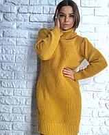 Сукня туніка модне тепле в'язане з коміром гольф різні кольори SMv1818, фото 1