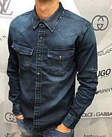 Мужская джинсовая рубашка RCJ D7696 темно-синяя