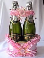 Корзинка Розовая для свадебного шампанского