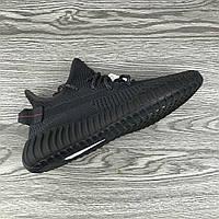 Кроссовки Мужские  Adidas Yeezy Boost 350 Чёрные Black /  Адидас Изи буст 350