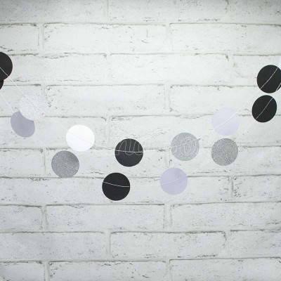 Гирлянда Кружочки бумажные черный , белый , серебро