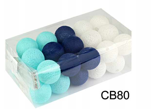 Гирлянда тайская декоративная LTL OCEAN Cotton Balls 30led, диам 6см, длина 540см на батарейках АА