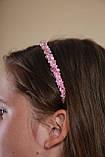 Обруч для волосся з кришталевими і перловим намистом Рожевий, фото 2