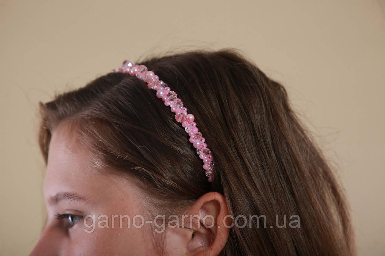 Обруч для волосся з кришталевими і перловим намистом Рожевий