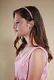 Обруч для волосся з кришталевими і перловим намистом Рожевий, фото 5