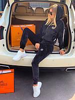 Спортивный костюм женский Philipp Plein D7733 черный велюровый