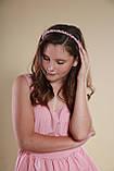 Обруч для волосся з кришталевими і перловим намистом Рожевий, фото 6