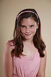Обруч для волосся з кришталевими і перловим намистом Рожевий, фото 7
