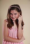 Обруч для волосся з кришталевими і перловим намистом Рожевий, фото 9
