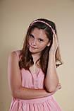 Обруч для волосся з кришталевими і перловим намистом Рожевий, фото 8