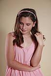 Обруч для волосся з кришталевими і перловим намистом Рожевий, фото 10