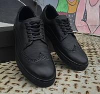Туфли-борги мужские Stanley 20263 черные кожаные