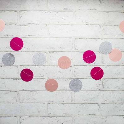 Гирлянда Кружочки бумажные розовый , малиновый , серебро