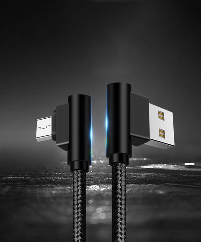 Кабель Micro USB Suntaiho с угловыми разъемами для зарядки и передачи данных Черный Серый Зеленый Красный 1м 2м