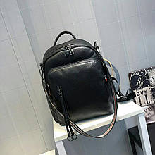 Рюкзак с широким цветным ремешком / натуральная кожа Черный