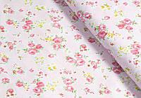 Сатин-твил Розочки мелкие на розовом