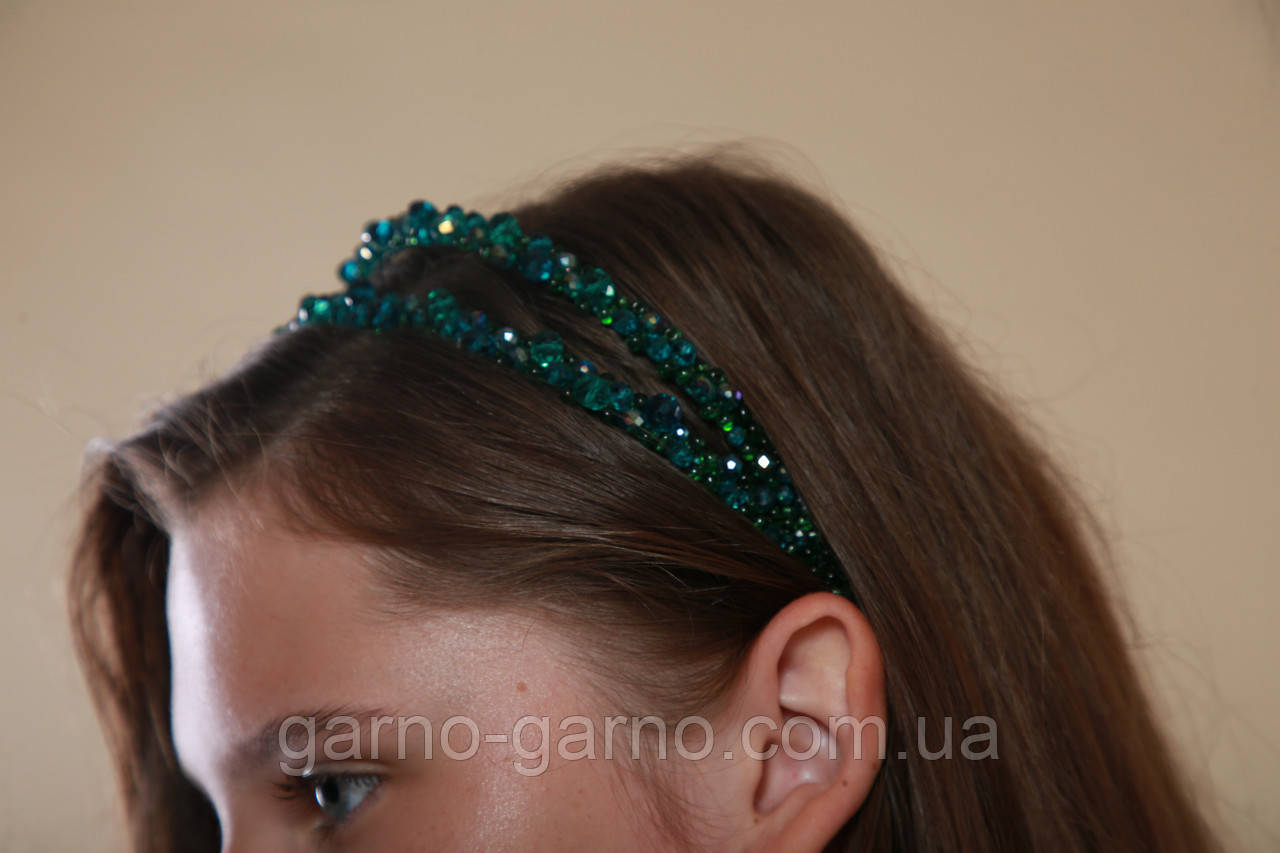 Зелений Обруч для волосся з кришталевими намистинами подвійний смарагдовий