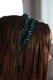 Зелений Обруч для волосся з кришталевими намистинами подвійний смарагдовий, фото 3
