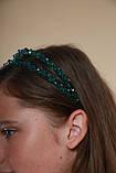 Зелений Обруч для волосся з кришталевими намистинами подвійний смарагдовий, фото 4