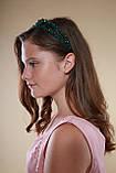 Зелений Обруч для волосся з кришталевими намистинами подвійний смарагдовий, фото 5